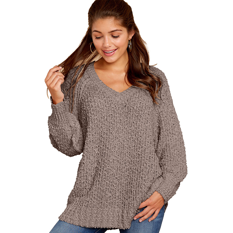 Wholesale Hot Women V Neck  Long Sleeve Sweater Pullover