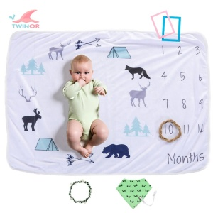 Wholesale custom organic cotton polyester fleece baby monthly milestone blanket
