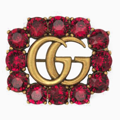 Double G Letter <strong>Crystal</strong> Brooch Pins for Women CZ Brooches