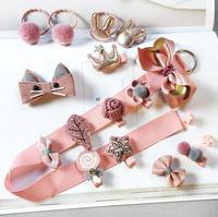 2018 New Design 10 gift baby Girls Toddler Hair Clips Bows Tie Hair Accessories Sets Wholesale Hair Band Set in Pink