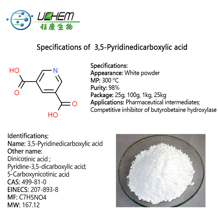 Top quality 3,5-Pyridinedicarboxylic acid CAS 499-81-0 Dinicotinic acid in factory