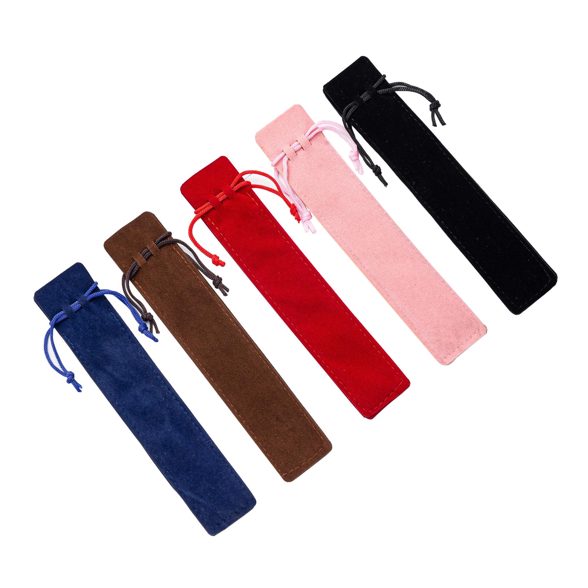 JH Promotional Black Velvet Pen Bag Sleeve Velvet Drawstring Pouch