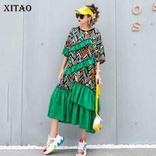Платье с принтом XITAO, асимметричное плиссированное платье с карманом в стиле пэчворк, элегантное платье-пуловер в повседневном стиле GCC3697(China)