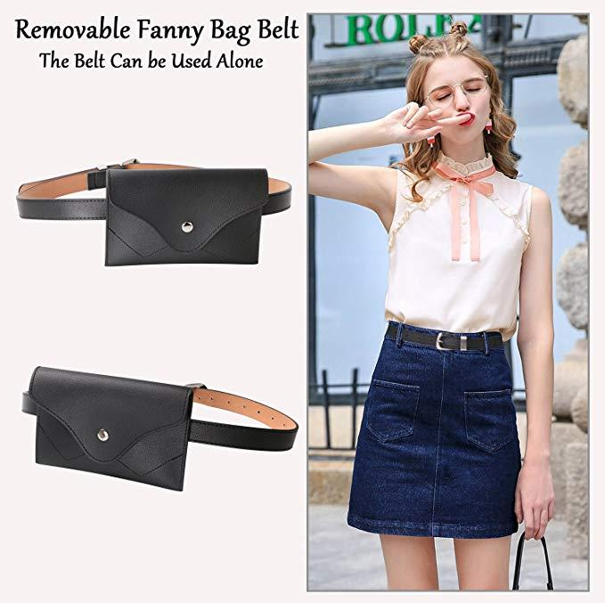 Lady Mobile Mini Waist Belt Bag Fanny Pack With Removable Waist Pouch Fashion Womens Leather  Belt Bags
