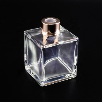 210ml ion plating transparent square glass diffuser bottles