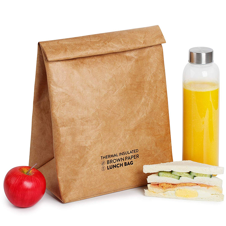 Reusable washable brown tyvek thermal insulated lunch paper cooler bag