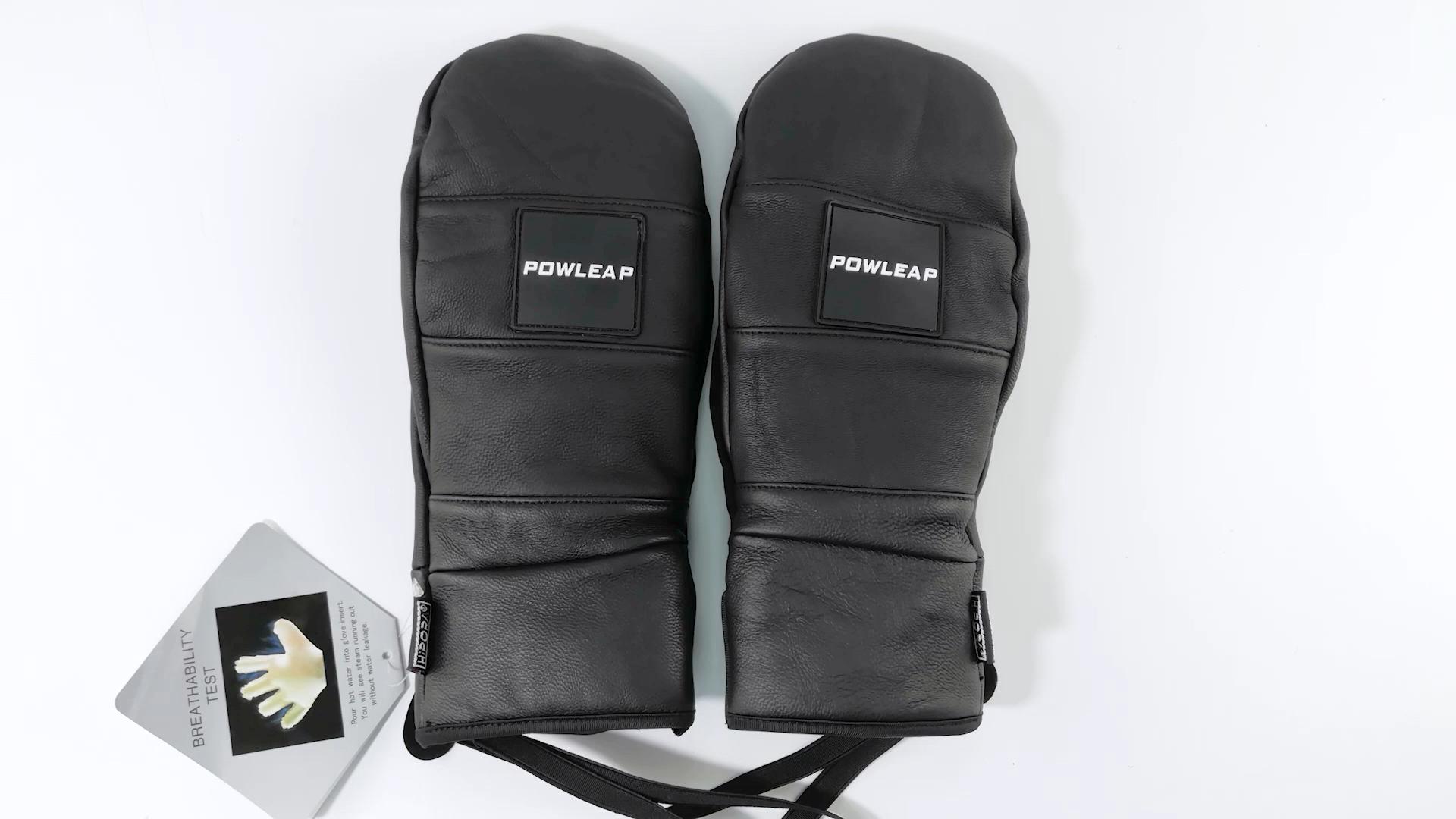 Migliore Vendita Traspirante pelle di Capra Personalizzato Thinsulate Impermeabile di Cuoio di Inverno Guanti Da Sci Sci Snowboard Guanti