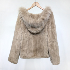 YRC1162 Wholesale price women knitted fur jacket high quality real rex rabbit fur coat with racoon trimming