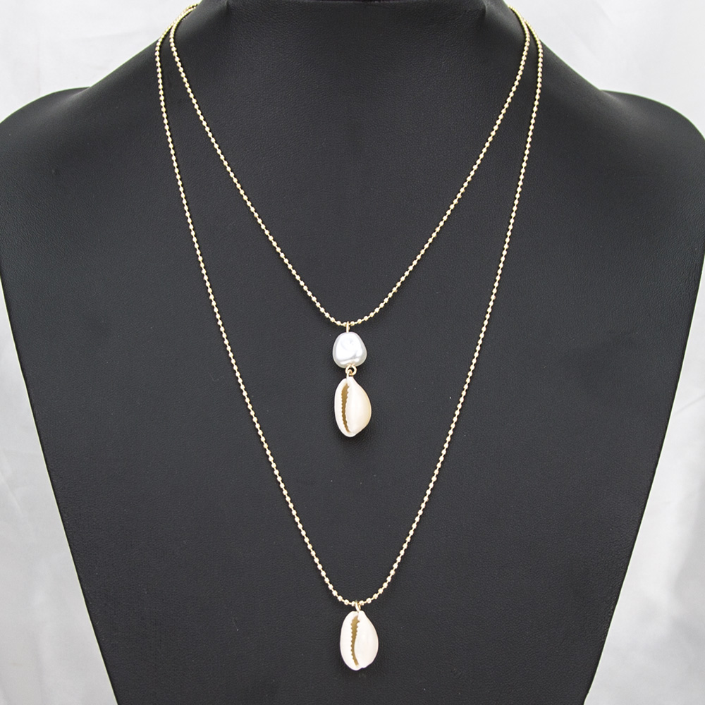 High quality necklace jewelry simple beads chain fashion bohemia natural shell pearl pendant necklace 2 layer set