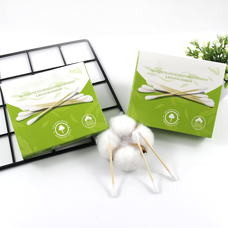 Biodegradable Bamboo stick cotton buds Cosmetic Remover cotton swab