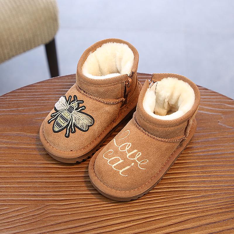 בעלי החיים הדפסי אופנה מזדמן יילוד תינוק פעוט תינוקות ילדים יוניסקס תינוק חם נעלי בני בנות Cartoon רך עם סוליות מגפיים