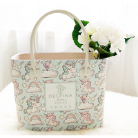 Cute unicorn, balloons and clouds pattern PU Leather basket