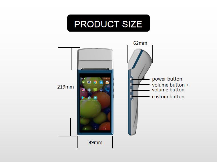 El 5.5 inç dokunmatik ekran Android spor bahisleri pos desteği baskı bilet