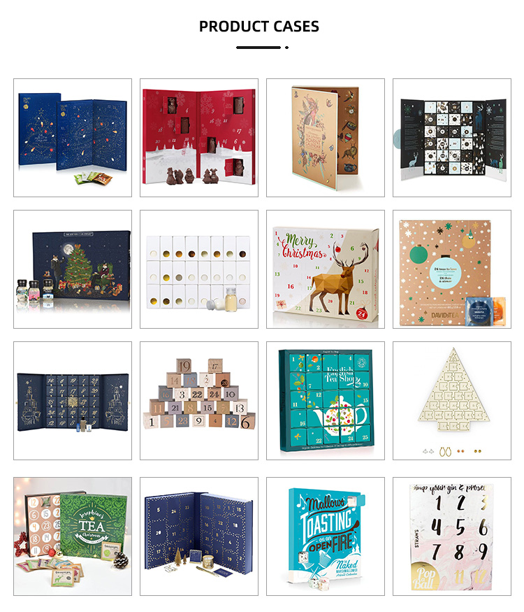 wholesale custom printed 24 drawers christmas gift cardboard packaging box advent calendar for cosmetic or chocolate
