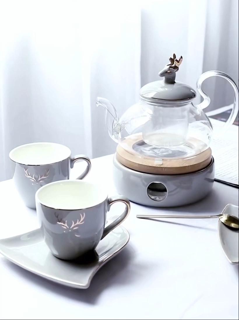 Лидер продаж, чайник из пирекс-стекла с керамическим подогревателем, чайный набор из 17 предметов