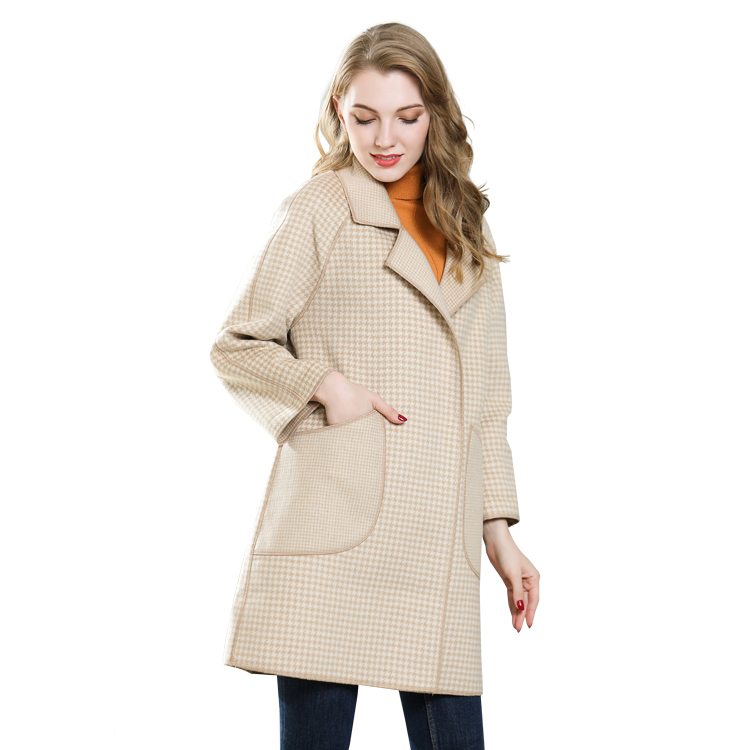 Manteau Long femme Chaud Laine Revers Trench Veste Longue Mince Manteau Outwear