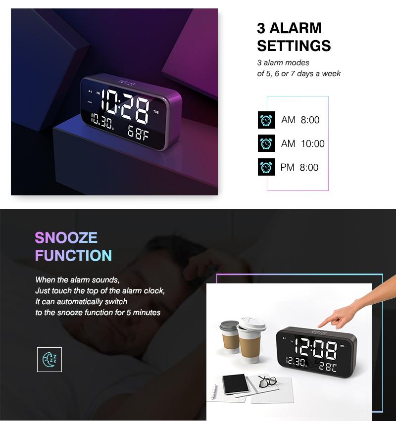 ร้อนขายเสียงควบคุมLed Lightนาฬิกาตั้งโต๊ะนาฬิกาปลุกเพลง