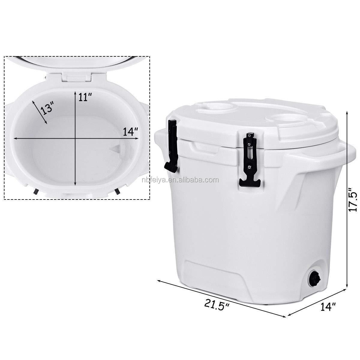 25L plastic rotomolded round spigot ice barrel cooler