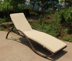 Wave armrest designed stylish modern beach resort lying furniture rattan wicker daybed outdoor