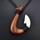 GX060 New Zealand Maori pendant Primitive tribes jewelry Handmade Carved wood fish Hook necklace yak bone necklaces for surfing