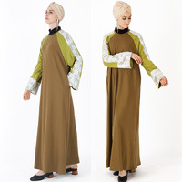 green sequins jilbab loose style matching color round collar long muslim sport abaya for woman