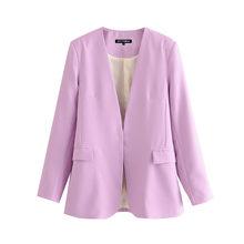 Женский винтажный Блейзер KPYTOMOA, офисная одежда с v-образным вырезом, длинными рукавами и карманами, верхняя одежда, 2020(Китай)