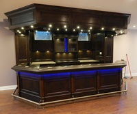 Antique Wooden Deluxe Basement Bar Design Basement Wet Bar With RGB Lighting