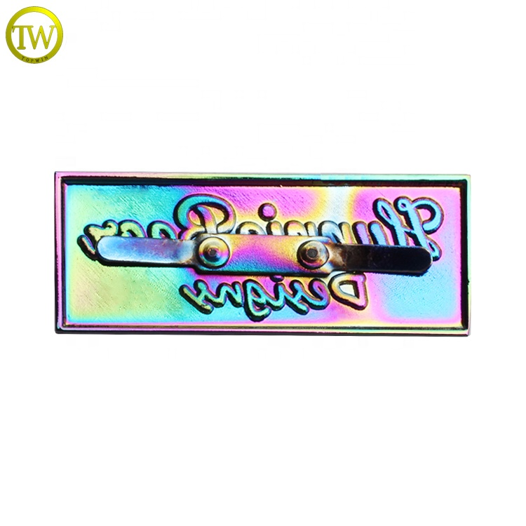 Bags Accessories Rainbow Metal Plate Customized Golden Metal logos For Wallet