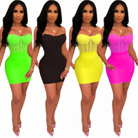 Sexy Mesh See Through Top with Bodycon Skirt Set Women Dress Clubwear