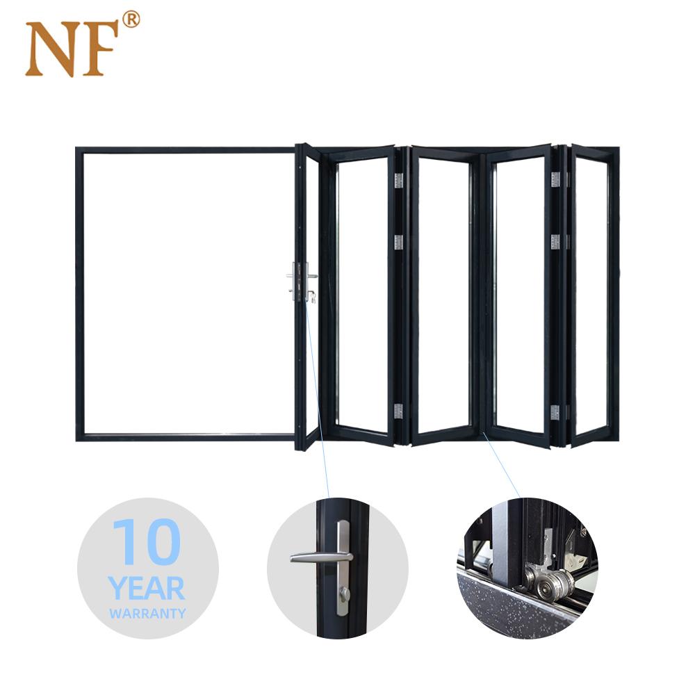 Folding Sliding Door System aluminum glass bifold door