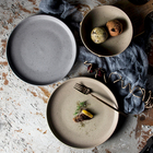 2019 Dinnerware Bulk Stoneware Flat Dinner Dishes Vintage Grey Rustic Plate