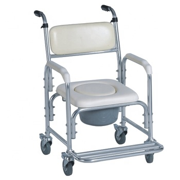 Chinese Manufacturer Aluminum Folding Commode Toilet Chair For Elderly With wheels and footstep SC7005B