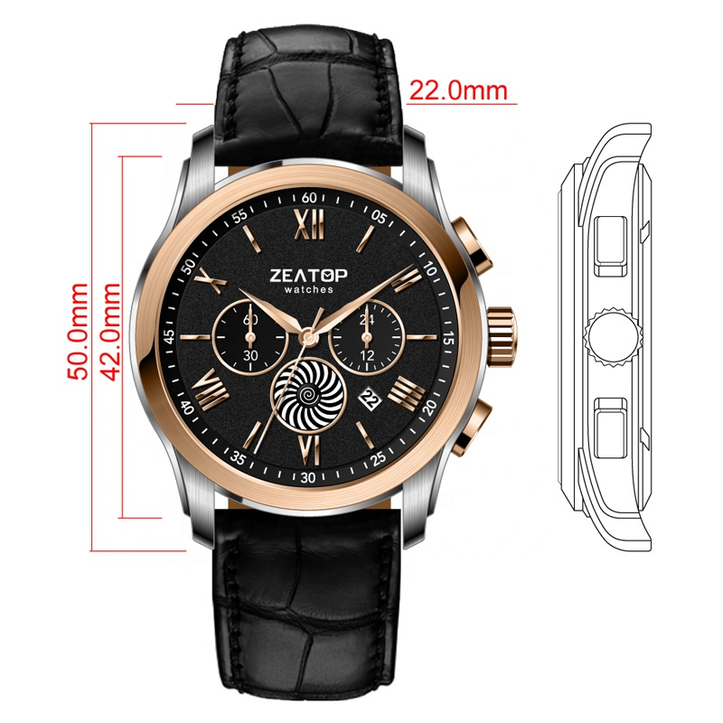 Japanese Movement Chronograph Watch with Logo, Leather Chronograph Watch for Men