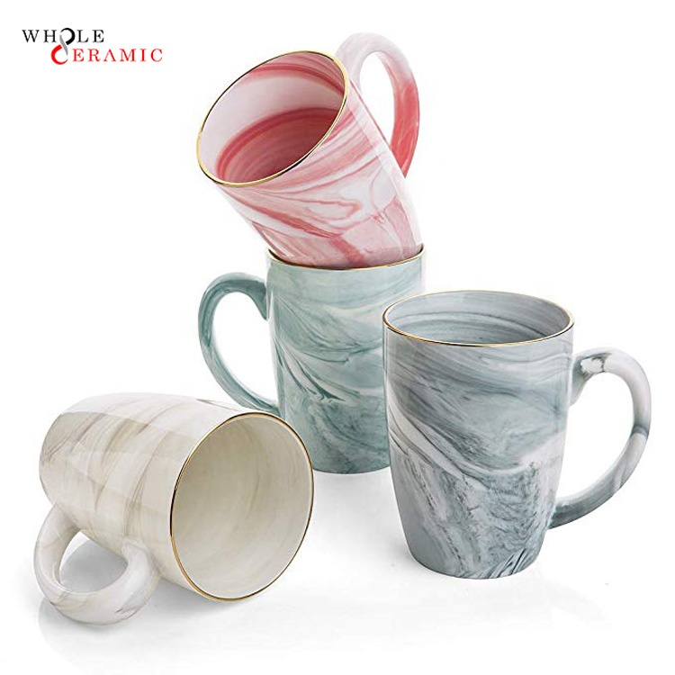 Novelty Ceramic Coffee Mug Marble Glaze, 12 Oz 14 Oz Rose Gold Coffee Cup Set With Golden Handle And Rim Plated