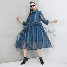 Женское Сетчатое платье EAM, платье с высоким воротом и рукавом три четверти, весенне-Осенняя мода 2020 1T554(Китай)