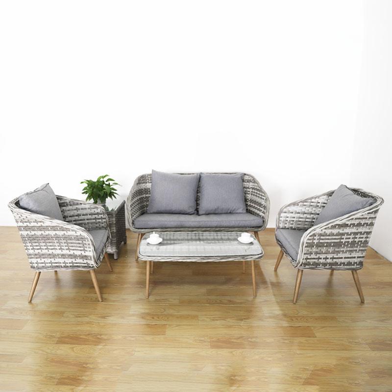 Conjunto de sofá de mimbre para exterior, muebles de ratán de alta calidad, mesa, silla, bistro, juego de conversación de aluminio