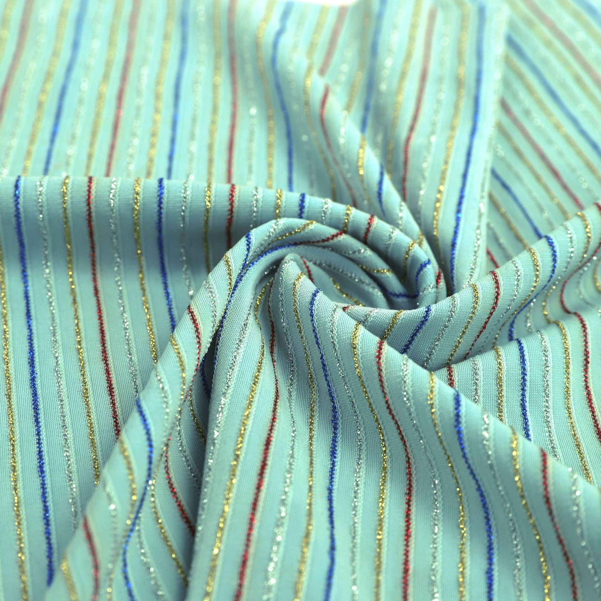 Soft And Cool Striped Gold-Line Chiffon Fabric Dress Fabric