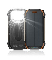 Waterproof IP67 Dual LED Torch 10000mAh 2in1 Solar Power Bank Solar Charger Mobile Power Bank