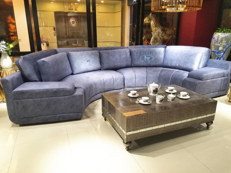 Thiết Kế mới Sang Trọng Ý Đồ Nội Thất Màu Xanh Xám Nhung Sofa Set 7 Chỗ Ngồi Tuyệt Vời Chất Lượng Half-Round Sofa Couch Sofa giường