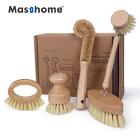 Masthome Eco-friendly 5pcs Kitchen Brush Set All Natural Fibre Wooden floor Vegetable Dish Bottle Pot Brush Sisal cleaning Brush