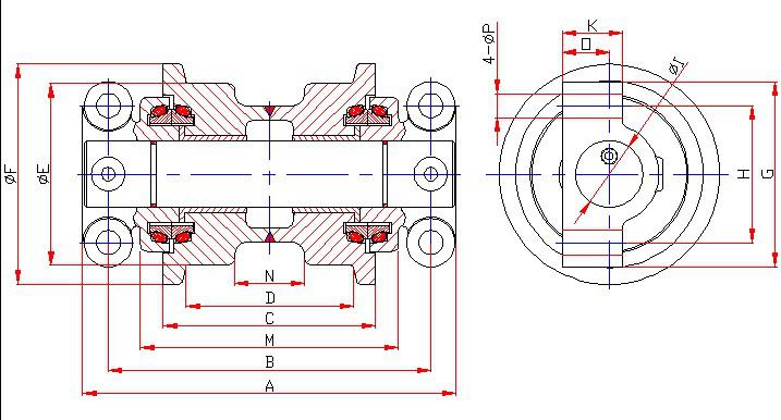 D3C Aftermarket מסלול תחתון רולר עבור bullzoer