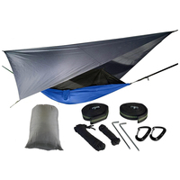 Nylon jungle outdoor portable double parachute camping hammock with mosquito net and rain fly