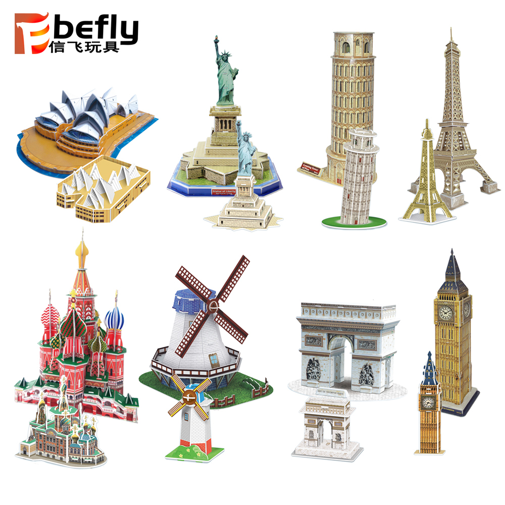 Cheap kids toy world famous building paper model 3d puzzle