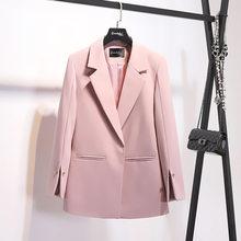 Женский пиджак, розовый, белый пиджак, женская одежда 2020, Корейская винтажная весна, осень, пальто, костюм, топы, Повседневная Верхняя одежда ...(Китай)