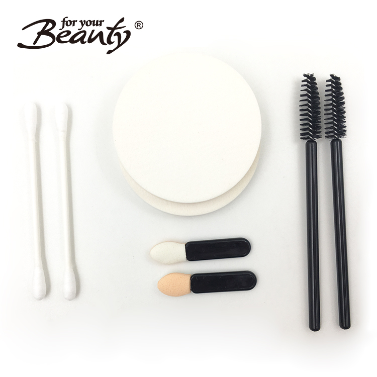 200pcs LATEX-FREE ROUND MAKE-UP SPONGES, COTTON SWABS, MASCARA BRUSHES, EYESHADOW APPLICATORS Filled Cosmetic Box