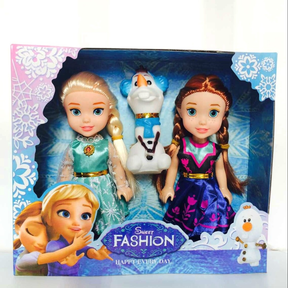 DIHAO Factory wholesale 7 inch lovely frozen snow glow doll with Live joints mini frozen doll set