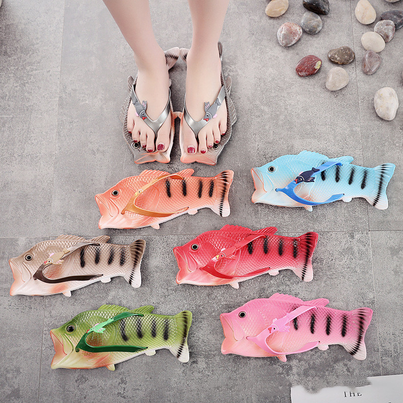 Men Women Flip Flops Summer Plus Size Unisex Lovers' Slippers Shoes Fashion Animal Fish Design EVA Flip Flops Soft Clogs Women