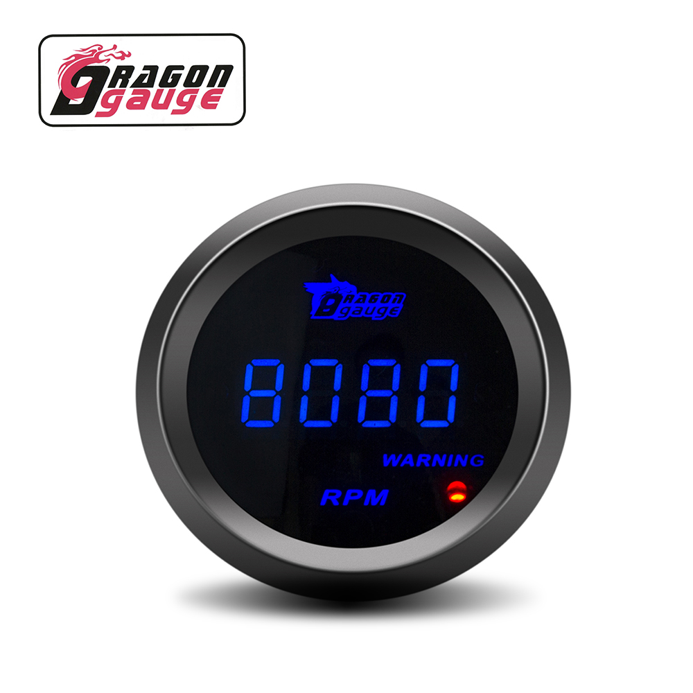 "Dragon Gauge 2"" 52mm Car Digital Tachometer RPM Meter Gauge Blue Led 0-9999 RPM Meter for DO6110"