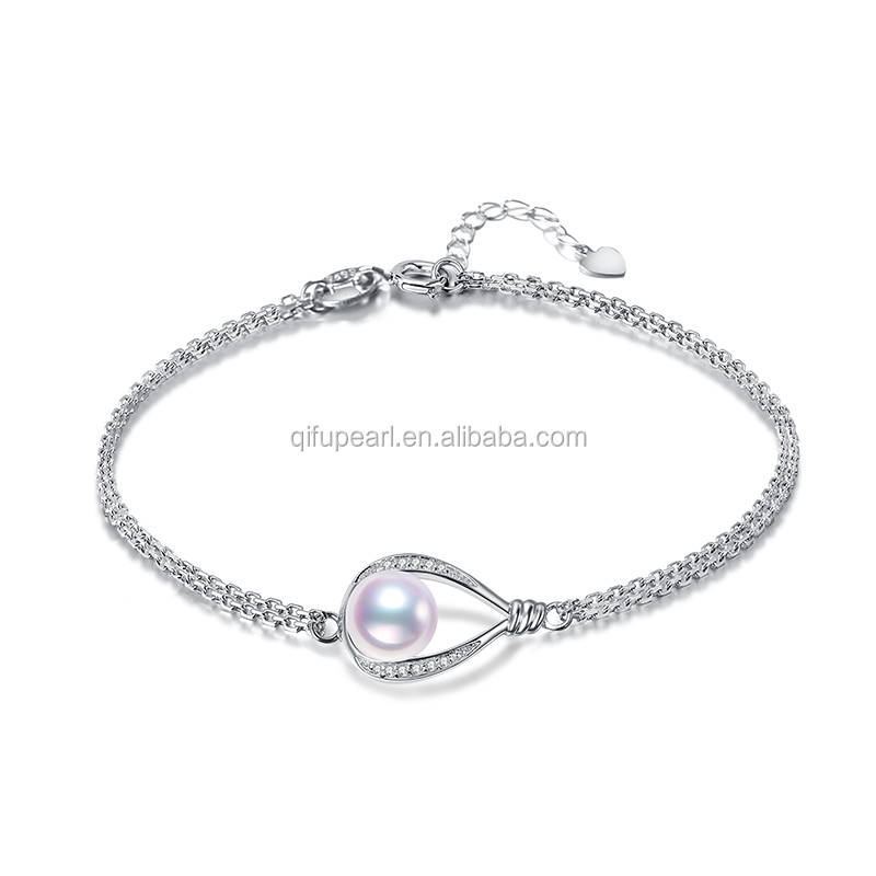 Factory Supply 925 Sterling Silver Pearl Accessories Double Layer Rolo Chain Freshwater Pearl  Bracelet Mounting