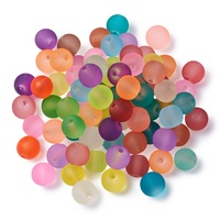 Mixed Color 8mm Round Plastic Beads Frosted Acrylic Beads